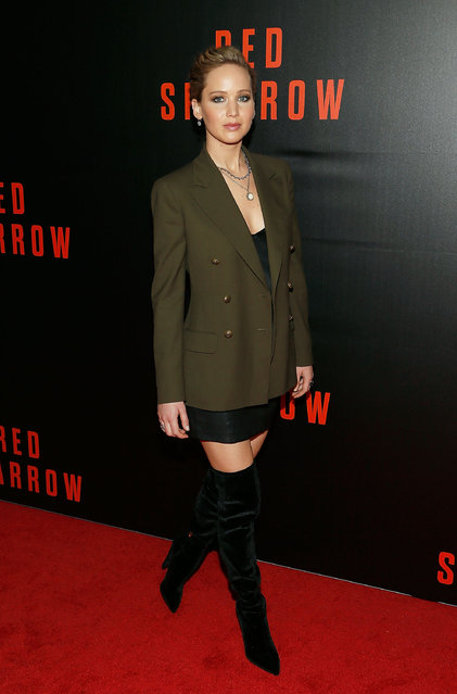 """Actress Jennifer Lawrence attends a special screening of """"Red Sparrow"""" at The Newseum on February 15, 2018 in Washington, DC. (Photo by Paul Morigi/Getty Images)"""