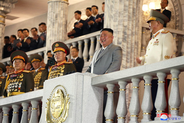 This picture taken on October 10, 2020 and released from North Korea's official Korean Central News Agency (KCNA) on October 11, 2020 shows North Korean leader Kim Jong Un (2nd R) attending the military parade during a ceremony to mark the 75th anniversary of the Workers' Party of Korea at Kim Il-sung Square of Pyongyang. (Photo by KCNA via KNS/AFP Photo)