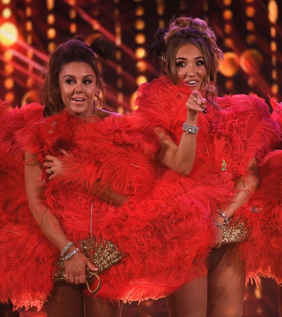 """Michelle Heaton and Megan McKenna (R) perform at """"The Real Full Monty: Live"""" TV show at Sheffield City Hall, England on March 29, 2018. (Photo by James Gourley/ITV/Rex Features/Shutterstock)"""