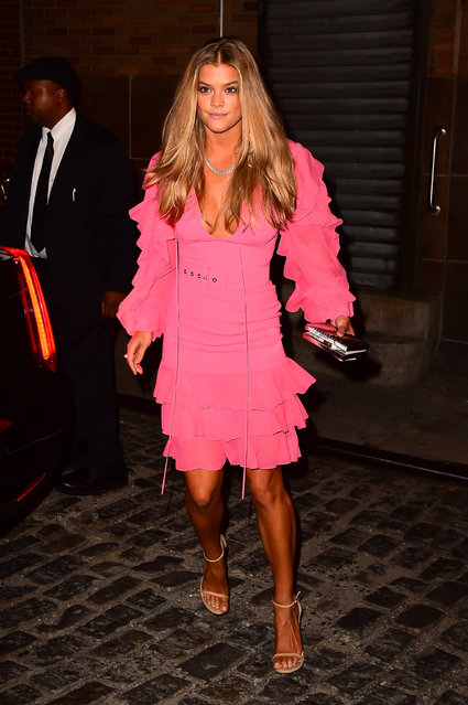 Model Nina Agdal is seen in Soho  on October 17, 2016 in New York City. (Photo by Raymond Hall/GC Images)