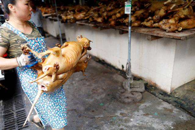A woman carries a butchered dog at a market during the local dog meat festival in Yulin, Guangxi Zhuang Autonomous Region, China on June 21, 2018. (Photo by Tyrone Siu/Reuters)
