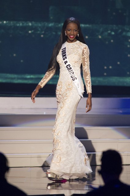 Shanice Williams, Miss Turks & Caicos 2014 competes on stage in her evening gown during the Miss Universe Preliminary Show in Miami, Florida in this January 21, 2015 handout photo. (Photo by Reuters/Miss Universe Organization)