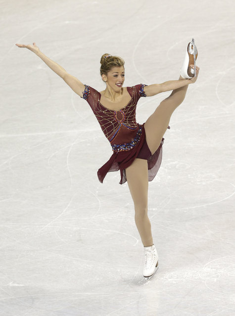 Samantha Cesario performs during the ladies short program at the U.S. Figure Skating Championships in Greensboro, N.C., Thursday, January 22, 2015. (Photo by Chuck Burton/AP Photo)