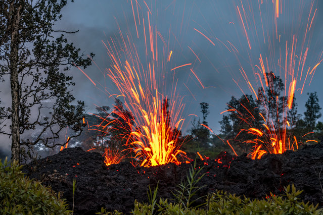 "CJ, who is from Hawaii, said: ""I have chosen to show the beauty of the volcano and try to convey that even though this is a destructive event, it is a beautiful event"". (Photo by CJ Kale/Caters News Agency)"