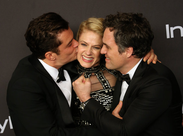 (L-R) Actors Orlando Bloom, Sunrise Coigney and Mark Ruffalo attend the 17th Annual Instyle and Warner Bros. Pictures Golden Globes After Party in Beverly Hills, California January 10, 2016. (Photo by David McNew/Reuters)
