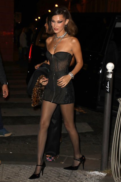 """Model Bella Hadid arrives at a party that she is hosting at """"Carmen"""" night club on September 25, 2018 in Paris, France. (Photo by Pierre Suu/Getty Images)"""