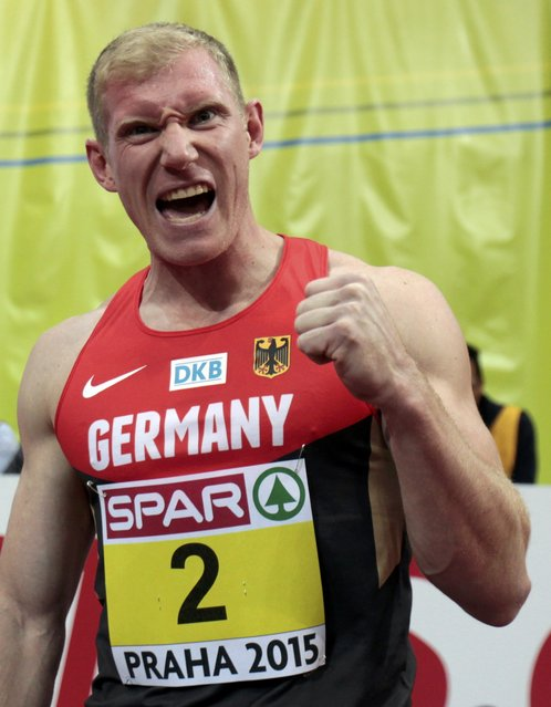 Arthur Abele of Germany celebrates his second place at the men's hepthatlon event during the European Indoor Championships in Prague March 8, 2015. REUTERS/David W Cerny (CZECH REPUBLIC  - Tags: SPORT ATHLETICS)