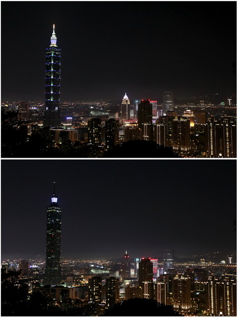 A combination picture shows the Taipei 101 building before and during Earth Hour in Taipei March 28, 2015. (Photo by Pichi Chuang/Reuters)