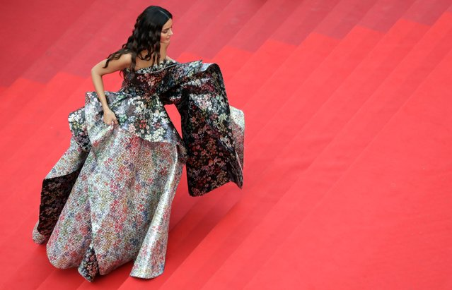 """Iranian model Mahlagha Jaberi arrives for the screening of the film """"The French Dispatch"""" at the 74th edition of the Cannes Film Festival in Cannes, southern France, on July 12, 2021. (Photo by Reinhard Krause/Reuters)"""