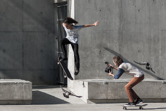 """""""Skaters in San Francisco"""". The short length of a 2-days stop in San Francisco motivated me to visit the city by foot only, trying to get higher chances to capture street instants. I came across those two skaters while walking through the Mission District. Photo location: San Francisco, USA. (Photo and caption by Matthieu Moors/National Geographic Photo Contest)"""