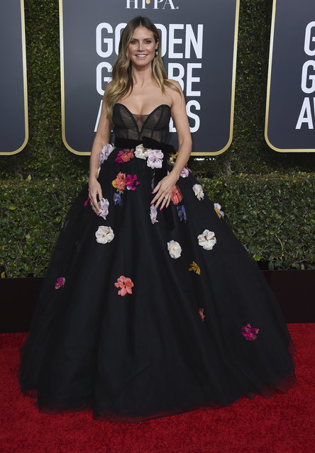 Heidi Klum arrives at the 76th annual Golden Globe Awards at the Beverly Hilton Hotel on Sunday, January 6, 2019, in Beverly Hills, Calif. (Photo by Jordan Strauss/Invision/AP Photo)