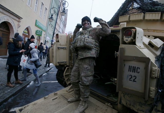 U.S. army soldier reacts after the official welcoming ceremony for U.S. troops deployed to Poland as part of NATO build-up in Eastern Europe in Zagan, Poland, January 14, 2017. (Photo by Kacper Pempel/Reuters)