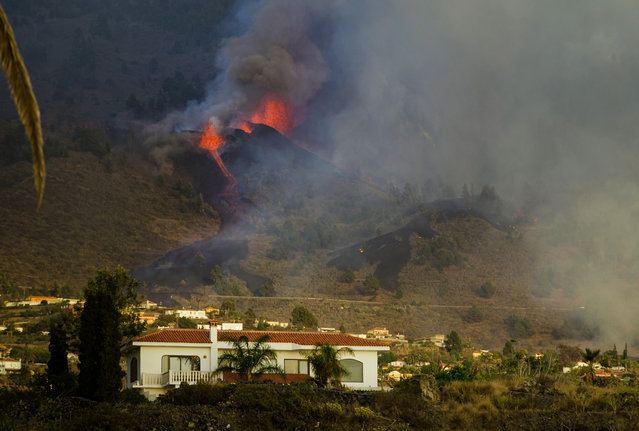 Lava flows from an eruption of a volcano at the island of La Palma in the Canaries, Spain, Sunday, September 19, 2021. A volcano on Spain's Atlantic Ocean island of La Palma erupted Sunday after a weeklong buildup of seismic activity, prompting authorities to evacuate thousands as lava flows destroyed isolated houses and threatened to reach the coast. New eruptions continued into the night. (Photo by Jonathan Rodriguez/AP Photo)