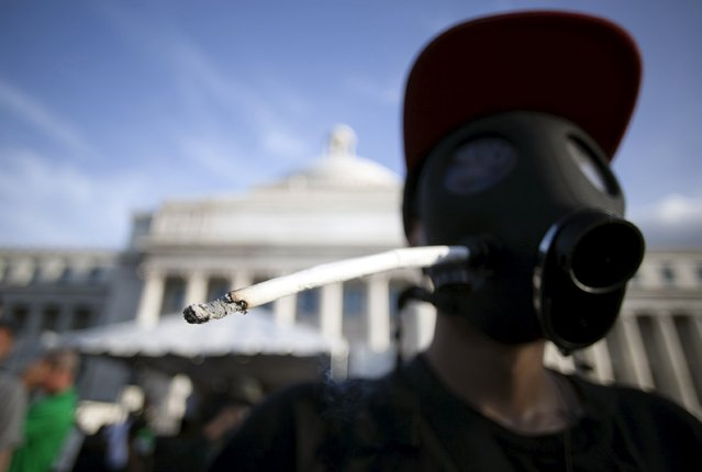 A demonstrator wears a mask with a marijuana cigarette inserted on one side during a protest outside the Capitol building in San Juan, Puerto Rico April 20, 2015. People gathered outside the Capitol building as legislators are debating to decriminalize small amounts of medical marijuana and its cultivation, according to local media. (Photo by Alvin Baez/Reuters)