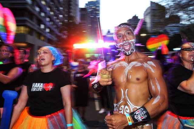 Arohi Chapman-Barber performs the Haka along Oxford Street during the annual Mardi Gras parade on March 02, 2019 in Sydney, Australia. It is the first time Haka For Life have had a float in the Sydney Mardi Gras parade. The float is designed like a Waka Canoe, which is significant in Maori culture, with the theme of One Waka, One Love, we're all in the same boat together. Haka For Life is a charity organisation focused on men's health, wellbeing and suicide prevention in the Maori community. The organisation believes there is a stigma the Maori warrior race that implies that people who identify as LGBTQI are not warriors. The Sydney Mardi Gras parade began in 1978 as a march and commemoration of the 1969 Stonewall Riots of New York. It is an annual event promoting awareness of gay, lesbian, bisexual and transgender issues and themes. (Photo by Lisa Maree Williams/Getty Images)