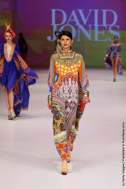 A model showcases designs by Camilla on the catwalk at the David Jones Spring/Summer 2011
