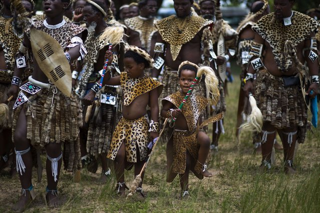 Two boys among thousands of Shembe men, members of the Shembe Church (Nazareth Baptist Church), a traditionalist Zulu church, clad in leopard-skin dance during a ceremony to worship God on January 26, 2014 in Durban. (Photo by Alexander Joe/AFP Photo)