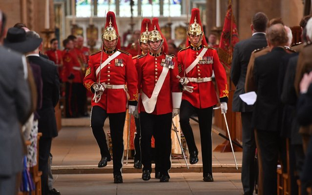 Members of First The Queen's Dragoon Guards (The Welsh Cavalry) march during a memorial service in Cardiff to mark the sixtieth anniversary of the Welsh Cavalry on July 01, 2019 in Cardiff, Wales. Prince Charles celebrates today 50 years since he was invested as the Prince of Wales. (Photo by Jacob King – WPA Pool/Getty Images)