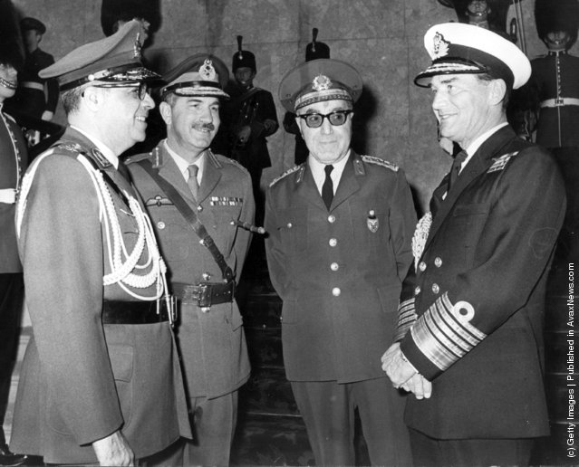 1972: General Azhari, from Iran, General M Sharif, from Pakistan, General N Tagino, from Turkey, and Admiral Sir Peter Hill-Norton from the United Kingdom, in London for the 23rd meeting of the Cento Military Committee