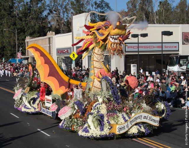 Rose Parade performers participate in the 123rd Annual Rose Parade in Pasadena, California