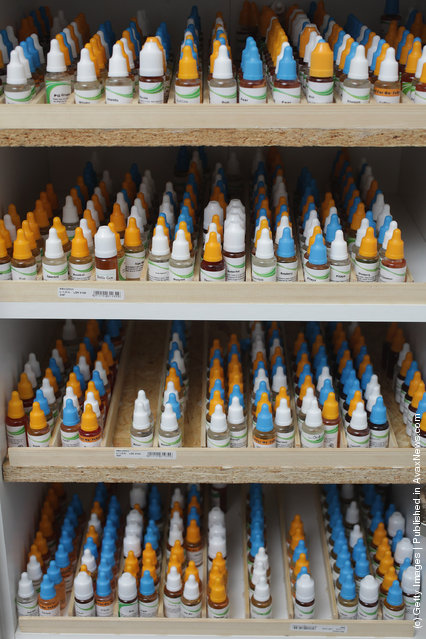 Bottles containing the flavoured liquids used for smoking electronic cigarettes stand in a cabiunet at a shop