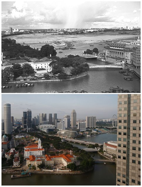 A combination picture shows (top) a view of the mouth of the Singapore River and General Post Office (R) near reclamation works underway (C) in this photo dated October 28, 1976 and the same scene May 11, 2015. (Photo by Edgar Su/Reuters/National Archives of Singapore/Ministry of Information and the Arts)