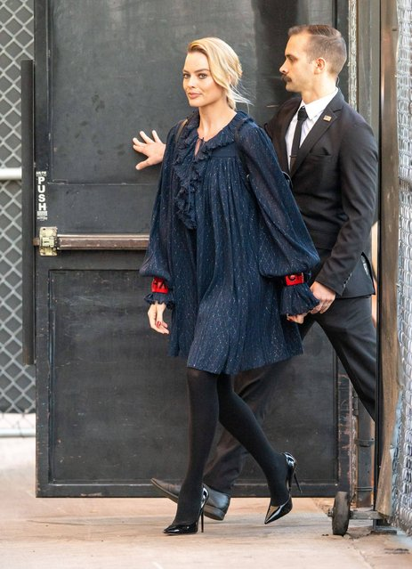 """Margot Robbie at """"Jimmy Kimmel Live"""" TV Show in Los Angeles, USA on December 19, 2019. (Photo by SIPA Press/Rex Features/Shutterstock)"""