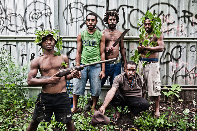 "Members of the Raskol gang ""Dirty Dons 585"", 9 Mile Settlement, Port Moresby. All of these young men committed a set of rapes and armed robberies. The gang members admit that two thirds of their victims are women"