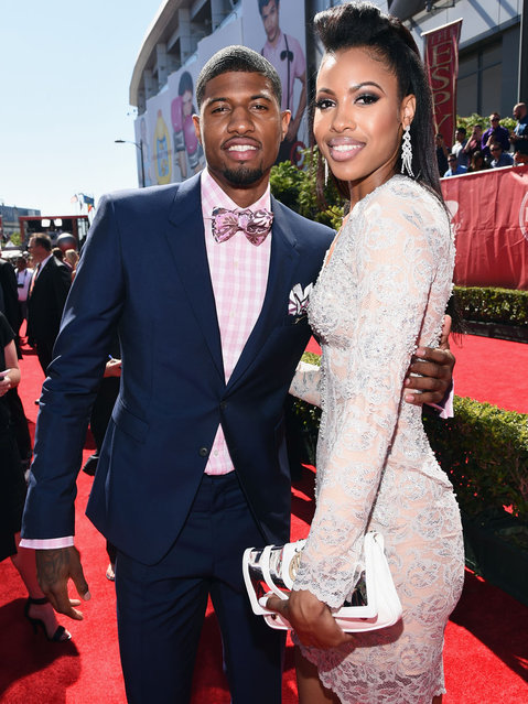 NBA player Paul George with girlfriend Callie Rivers attend The 2014 ESPYS at Nokia Theatre L.A. Live on July 16, 2014 in Los Angeles, California. (Photo by Michael Buckner/Getty Images For ESPYS)