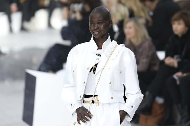 A model wears a creation for the Chanel fashion collection during Women's fashion week Fall/Winter 2020/21 presented in Paris, Tuesday, March 3, 2020. (Photo by Vianney Le Caer/Invision/AP Photo)