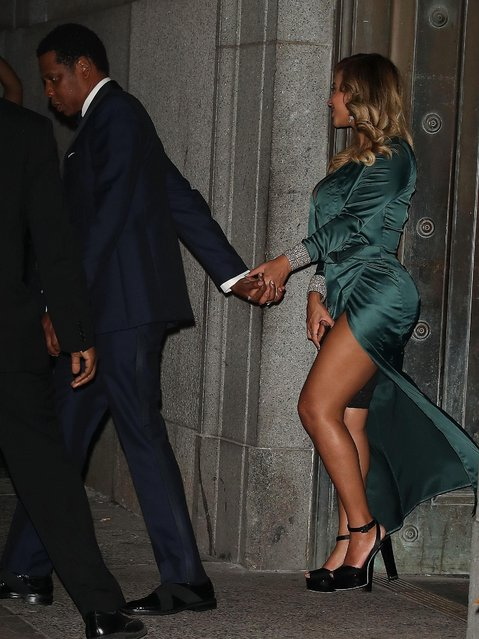 Beyonce is seen arriving at Rihanna's 3rd Annual Diamond Ball Benefitting The Clara Lionel Foundation at Cipriani Wall Street on September 14, 2017 in New York City. (Photo by Splash News and Pictures)