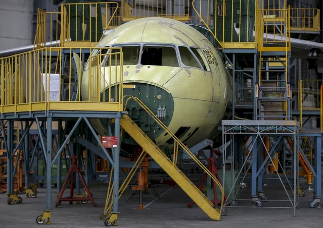 A new Antonov airplane is seen at the Antonov aircraft plant in Kiev, Ukraine, September 7, 2015. (Photo by Gleb Garanich/Reuters)