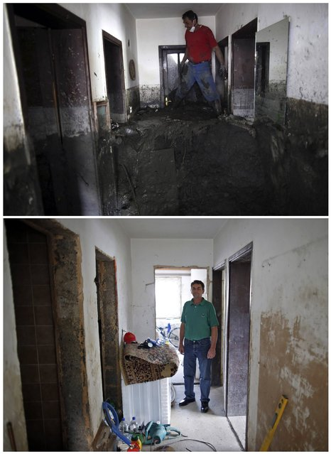 A combination photo shows resident Zehid Kovacevic cleaning mud from the inside of his home during floods May 31, 2014 (top) and the same place after floods October 8, 2014 in Topcic Polje. (Photo by Dado Ruvic/Reuters)