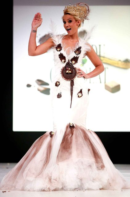 Elodie Gossuin walks the runway and wears a chocolate costume made by designer and a chocolate maker during the Fashion Chocolate show at Salon du Chocolat at Parc des Expositions Porte de Versailles in Paris, France, October 28, 2014. (Photo by LAURENTVU/SIPA Press)