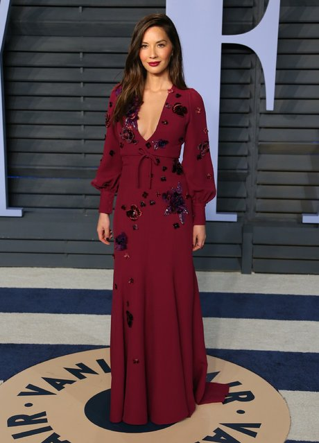 Olivia Munn  attends the 2018 Vanity Fair Oscar Party following the 90th Academy Awards at The Wallis Annenberg Center for the Performing Arts in Beverly Hills, California, on March 4, 2018. (Photo by Jean-Baptiste Lacroix/AFP Photo)
