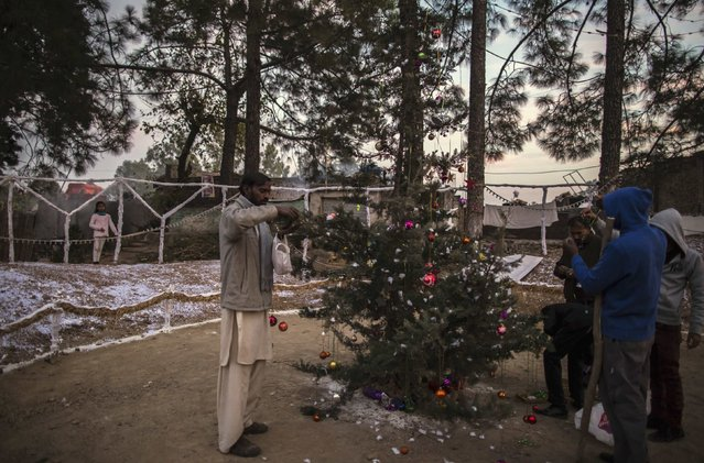 Men decorate a tree ahead of Christmas in a Christian slum in Islamabad December 24, 2014. (Photo by Zohra Bensemra/Reuters)