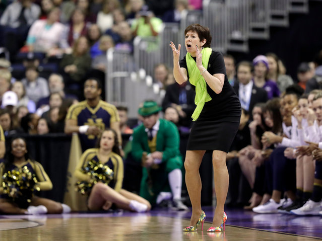 Notre Dame head coach Muffet McGraw yells from the sidelines during the first half against Mississippi State in the final of the women's NCAA Final Four college basketball tournament, Sunday, April 1, 2018, in Columbus, Ohio. (Photo by Tony Dejak/AP Photo)