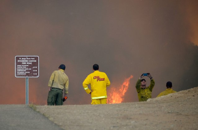 Firefighters look on as wildfire charges back up from Sycamore Canyon inside Pt. Mugu State Park after after changing winds on May 3, 2013 in Newbury Park, California. (Photo by Kevork Djansezian/Getty Images)