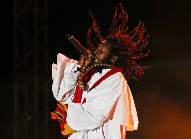 Jamaican reggae artist Droop Lion performs at the Sting 2014 concert in Kingston, December 27, 2014. (Photo by Gilbert Bellamy/Reuters)