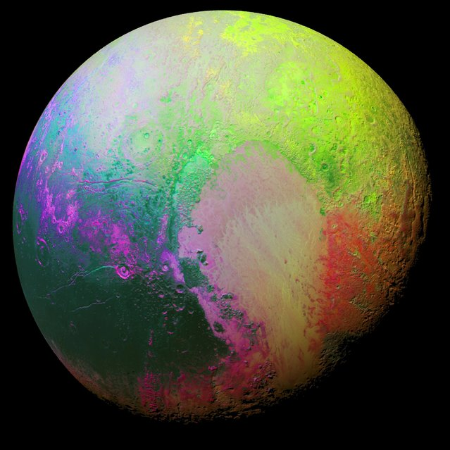 A false color image of the planet Pluto using a technique called principal component analysis to highlight the color differences between Pluto's distinct regions is seen in this picture produced by New Horizons scientists in this November 12, 2015 file photo. (Photo by Reuters/NASA/JHUAPL/SwRI)