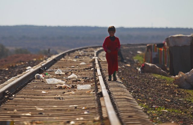 An internally displaced girl stands on an abandoned railway tracks beside a makeshift refugee camp in Sinjar town, in Idlib province, Syria November 20, 2015. (Photo by Ammar Abdullah/Reuters)