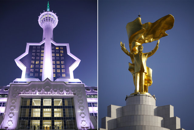 Left: Ashgabat Tele-radio Center, in the hills overlooking Ashgabat. Right: A holdover from the Soviet era, Saparmurat Niyazov had been promoted within the communist party for his deference (Moscow was worried about nationalist sentiments in the distant Central Asian republics). After the collapse of the soviet union Niyazov found himself at the helm of an independent nation and a cult of personality. Gas revenues funded a descent into an increasingly bizarre dictatorship – dogs were banned, hospitals and libraries were closed outside of the capital, and months of the year were renamed after members of his family. (Photo by Amos Chapple via The Atlantic)