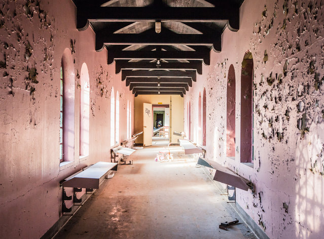 Pink walls distinguish the girls ward of the  childrens building. (Photo by Will Ellis/Caters News)