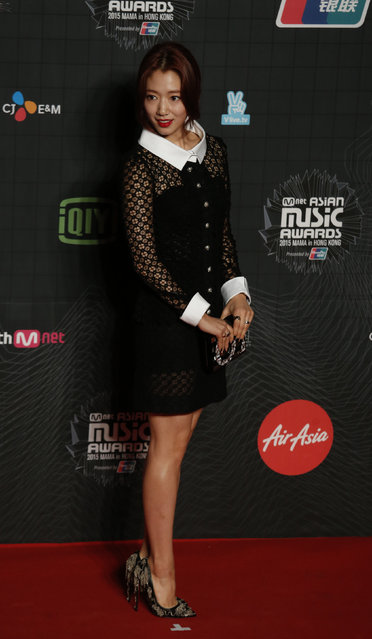 South Korean actress Park Shin-hye poses on the red carpet during 2015 Mnet Asian Music Awards (MAMA) in Hong Kong, China December 2, 2015. (Photo by Bobby Yip/Reuters)