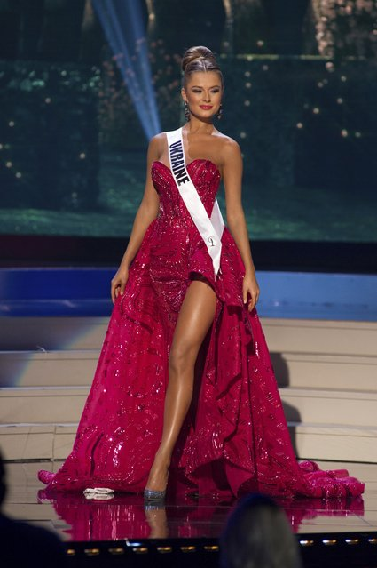 Diana Harkusha, Miss Ukraine 2014 competes on stage in her evening gown during the Miss Universe Preliminary Show in Miami, Florida in this January 21, 2015 handout photo. (Photo by Reuters/Miss Universe Organization)