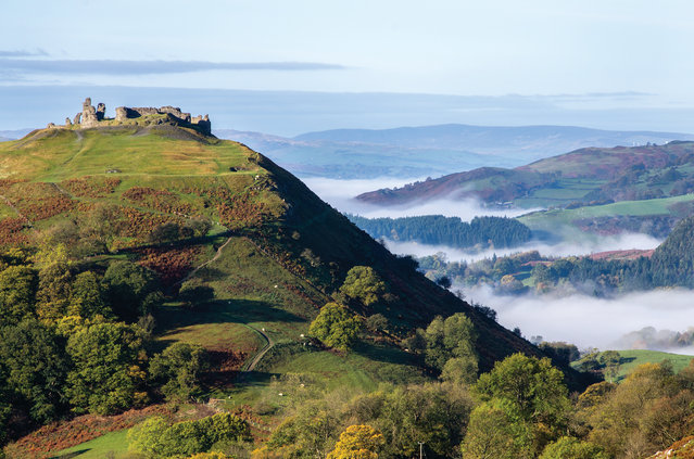 Castell Dinas Bran, Denbighshire, UK, 2016. The ruins of the 13th-century tower over Llangollen and the Dee valley, where there has been a fort since the iron age. The ruins are thought to have been built in the 1260s by Gruffydd Maelor II, one of the Princes of Powys. The Panorama Walk, a minor road above Llangollen below the limestone crags of Eglwyseg, is a perfect place to view the castle from. (Photo by Stuart Holmes)