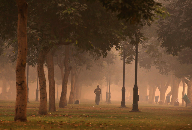 A man walks in a public park on a smoggy morning in New Delhi, India, November 2, 2016. (Photo by Adnan Abidi/Reuters)