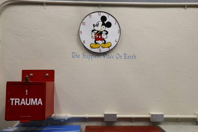 A Mickey Mouse clock is seen on a wall on death row during a media tour at San Quentin State Prison in San Quentin, California December 29, 2015. (Photo by Stephen Lam/Reuters)