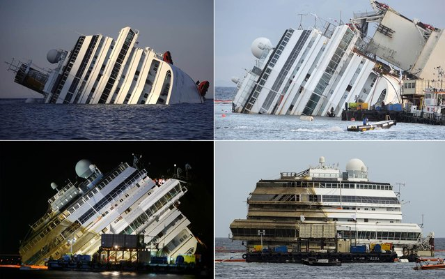 "The Costa Concordia is seen after it was lifted upright, on the Tuscan Island of Giglio, Italy, early Tuesday morning. The crippled cruise ship was pulled completely upright after a complicated, 19-hour operation to wrench it from its side where it capsized last year off Tuscany, with officials declaring it a ""perfect"" end to a daring and unprecedented engineering feat.  (Photo by Reuters/Associated Press)"