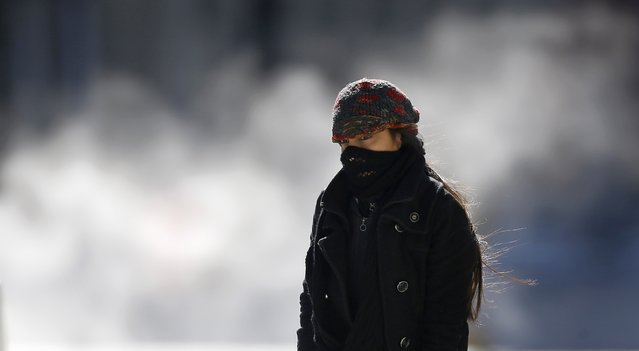 A woman is bundled up against the cold weather in downtown Chicago, Illinois, February 19, 2015. (Photo by Jim Young/Reuters)